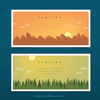 산과 소나무 배너와 함께 손으로 그린 풍경
