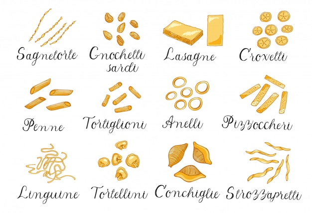 Hand drawn large set of different types of italian pasta. vector illustration, colored.