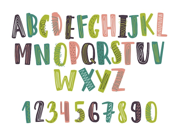 手描きのラテンフォントまたは塗りつぶしや落書きで飾られた幼稚な英語のアルファベット