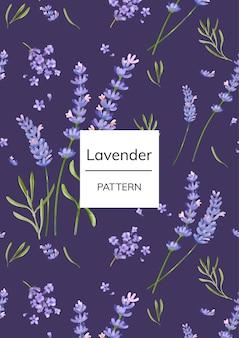 Hand drawn lavender flower pattern