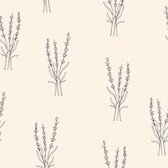 Ручной обращается цветок лаванды бесшовный фон