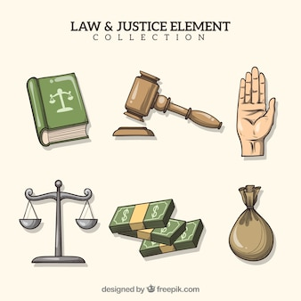 Hand drawn law and justice element collection