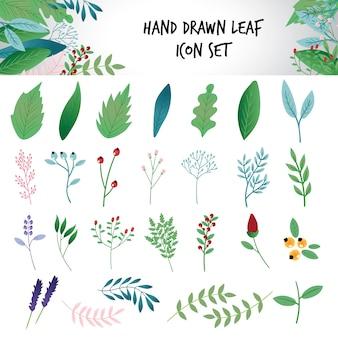 손으로 그린 잎 아이콘 세트