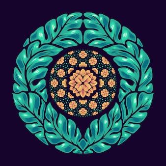 手描きの葉マンダラ