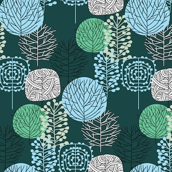 Hand drawn leaf pattern background