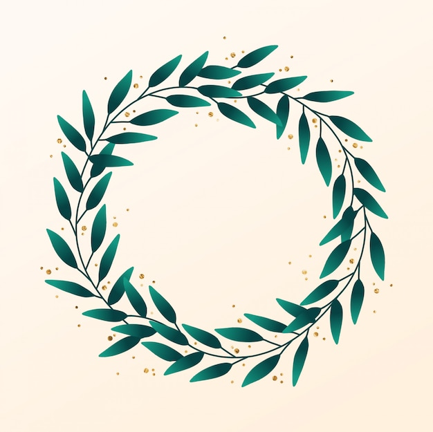 Hand drawn leaf wreath with gold accent
