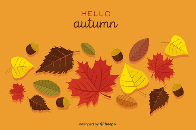 Hand drawn leaves autumn background