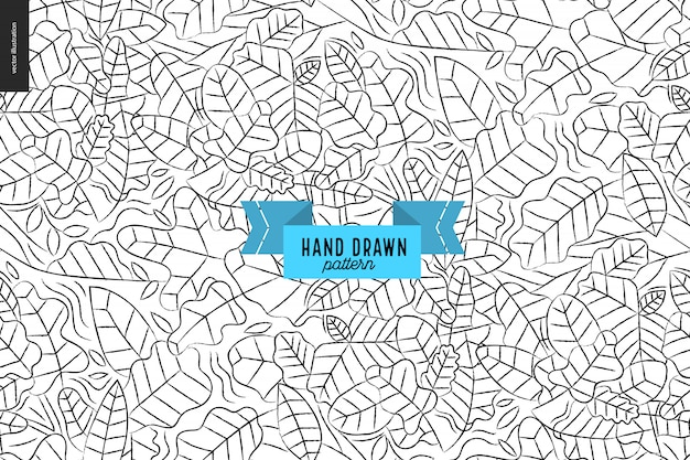 Hand drawn leaves black, white pattern. vector seamless pattern