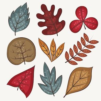 손으로 그린 나뭇잎 컬렉션