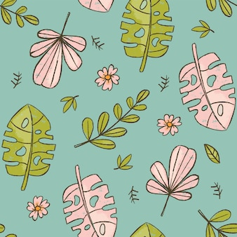 Hand drawn leaves green tropical grunge style