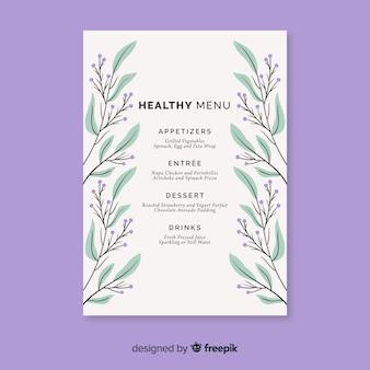 Hand drawn leaves healthy food menu