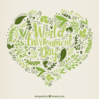 Hand drawn leaves heart background