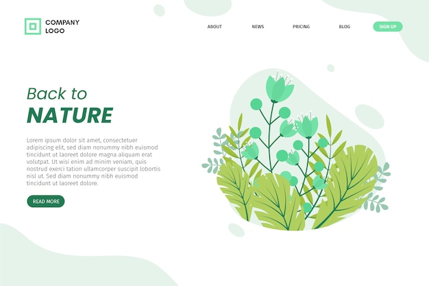Hand drawn leaves landing page