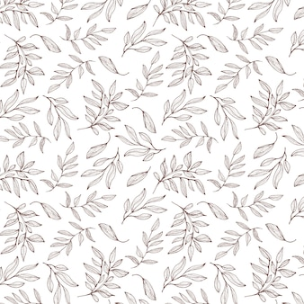 Hand drawn leaves pattern