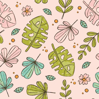 Hand drawn leaves pink tropical grunge style
