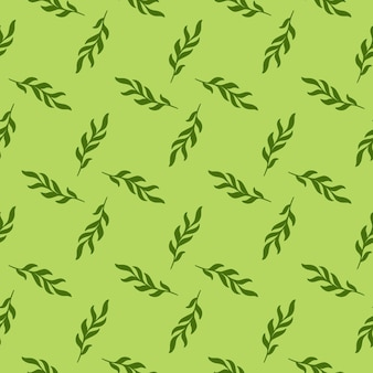 Hand drawn leaves twig silhouettes seamless pattern in doodle style