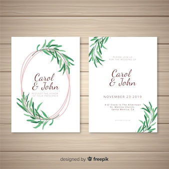 Hand drawn leaves wedding invitation template