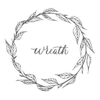 Hand drawn leaves wreath design