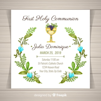 Hand drawn leaves wreath first communion invitation