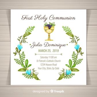 Hand drawn leaves wreath first communion invitation