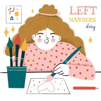 Нарисованная рукой концепция дня левшей