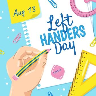 Hand drawn left handers day