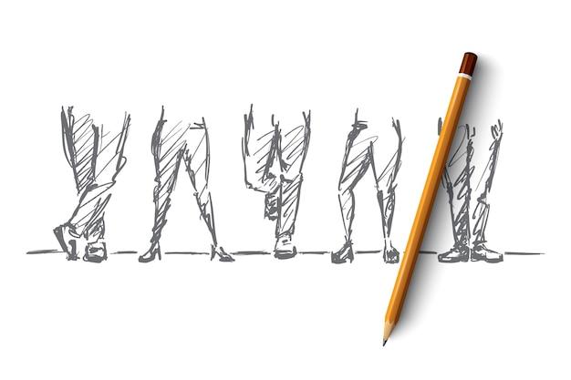 手描きの脚のコンセプトスケッチとその上に鉛筆。