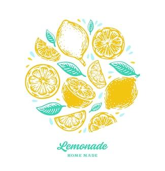 손으로 그린 레몬, 레몬 슬라이스