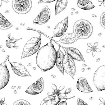 手描きレモンパターンイラスト