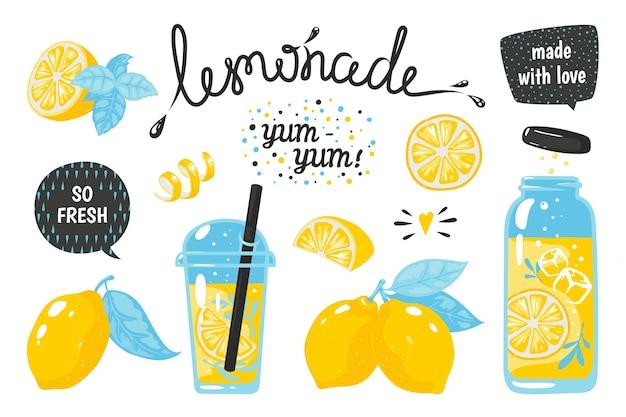 Ручной обращается лимонад. лимонный сок пузырьковый напиток с этикетками и типографикой, летний холодный коктейль.