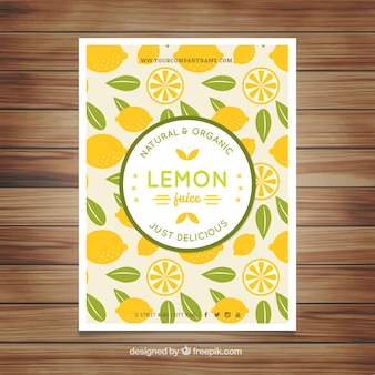 Hand drawn lemons and leaves flyer