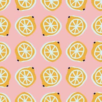 Рисованные лимоны бесшовные модели