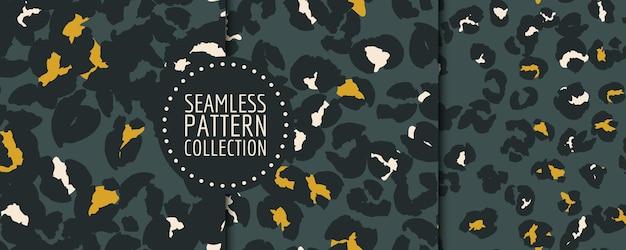 손으로 그린 표범 반점 원활한 패턴 벡터 설정