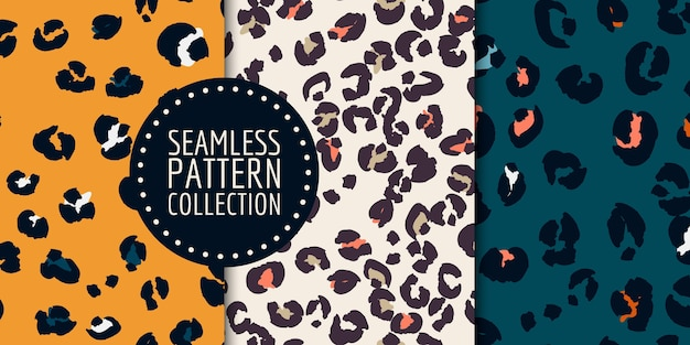 Hand-drawn leopard spots seamless pattern set
