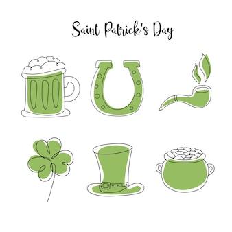 聖パトリックの日のために設定された手描きのレプラコーン帽子、クラウアー、ビールジョッキ、ゴールデンコインポットスケッチ。アイルランドのお祭りの装飾。ベクトル手描きセット
