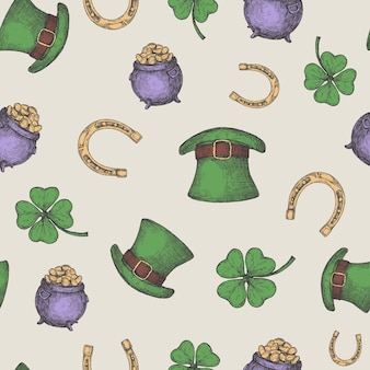 Hand drawn leprechaun hat, horseshoe and treasure pot  seamless background pattern with green lucky shamrock.