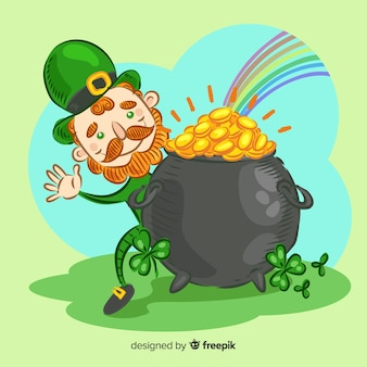 Hand drawn leprechaun with cauldron st patrick's day background