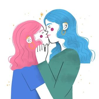 Hand drawn lesbian kiss illustration