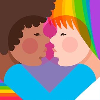Hand drawn lesbian kiss