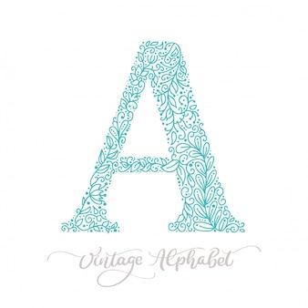Hand drawn a letter monogram calligraphy vintage logo