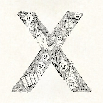Hand drawn letter x background