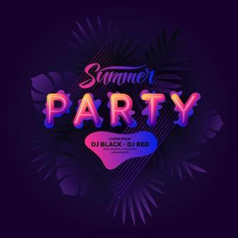 手描きのレタリングとファッションポスター抽象的なスタイルの夏のパーティー。ベクトルの背景。