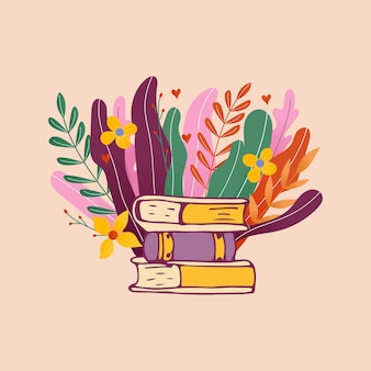 초대장 및 인사말 카드, 프로모션, 인쇄물, 전단지, 표지 및 포스터에 대한 손으로 그린 글자 책 클럽 비문. 꽃 잎 벡터 빈티지 일러스트