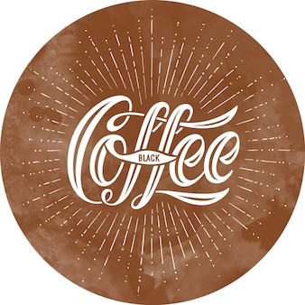 Hand-drawn lettering, calligraphic inscription coffee black on brown background