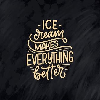 Рисованной надписи композиция о мороженом.