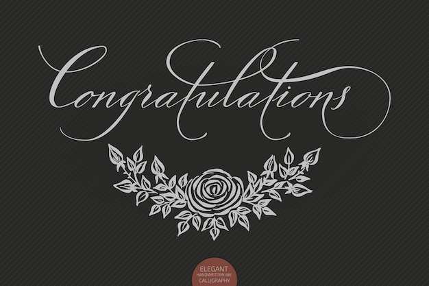 Hand drawn lettering congratulations