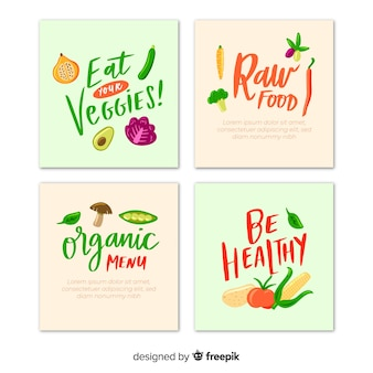 Hand drawn and lettering food card collection