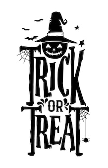 Hand drawn lettering Halloween greeting template