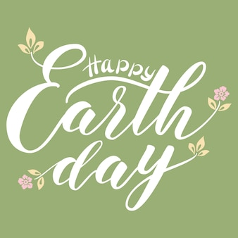 Рисованной надписи happy earth day.