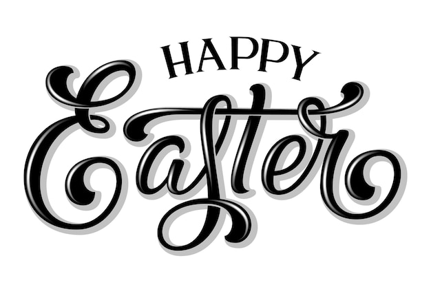 Hand drawn lettering happy easter with shadow and highlights. elegant modern handwritten calligraphy. ink illustration. typography poster on white background.